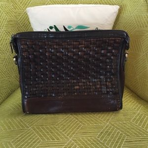 Brown leather woven bag
